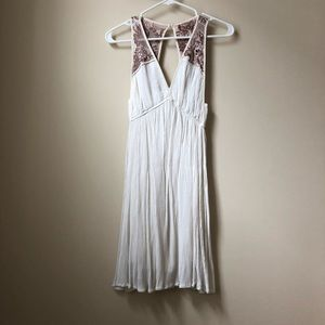 Ecote open back dress white dress with embroidery